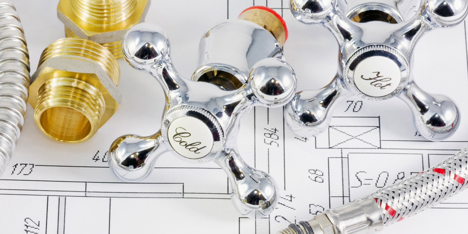plumbing valves and hoses on the plan of the premises